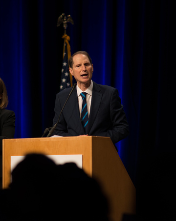 PORTLAND, OREGON NOVEMBER 8 2016, At the Election Night Party for the Democratic Party of Oregon, Ron Wyden, Democratic Senator for Oregon gives an acceptance speech after winning reelection.