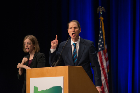 PORTLAND, OREGON NOVEMBER 8 2016, At the Election Night Party for the Democratic Party of Oregon, Senator Ron Wyden passionately speaks after winning a reelection campaign. Editorial
