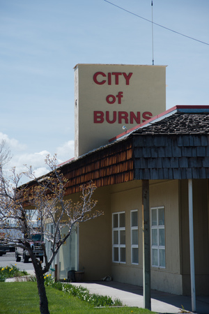 BURNS, OREGON APRIL 21 2016, Side view of the main frontage for the City of Burns City hall. Editorial