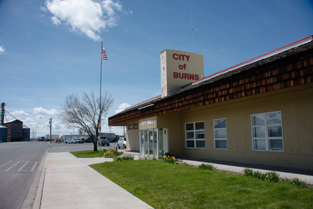 BURNS, OREGON APRIL 21 2016, The city hall building for Burns. Editorial