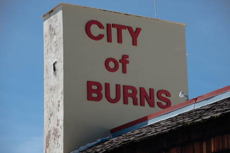 BURNS, OREGON APRIL 21 2016, Close up of the City of Burns signage on top of the Burns City Hall building.