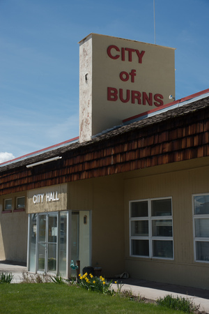 BURNS, OREGON APRIL 21 2016, Main entrance and signage of the city hall building for Burns.