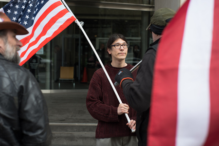 PORTLAND, OREGON MARCH 06 2017, David Fry, acquitted defendant in the first trial of the occupation of the Malheur Wildlife Refuge in front of the US District Courthouse protesting the second trial. Stock Photo - 79122535