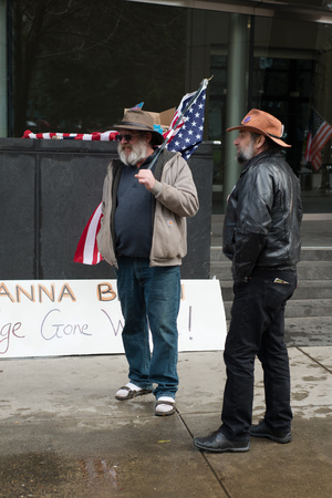 PORTLAND, OREGON MARCH 06 2017, David Zion Brugger and another protester of the second trial of the occupation of the Malheur Wildlife Refuge  in front of the US District Courthouse.