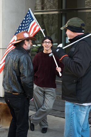 PORTLAND, OREGON MARCH 06 2017, David Fry, acquitted defendant in the first trial of the occupation of the Malheur Wildlife Refuge with others protesting the second trial in front of the Courthouse. Stock Photo - 79122538