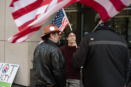 PORTLAND, OREGON MARCH 06 2017, David Fry, acquitted defendant in the first trial of the occupation of the Malheur Wildlife Refuge in front of the US District Courthouse with others protesting the second trial.