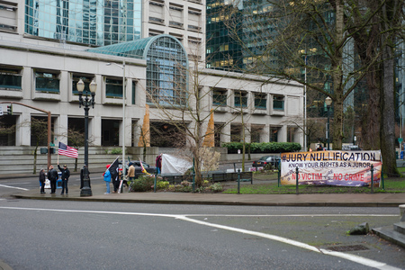 PORTLAND, OREGON MARCH 08 2017, Protesters of the second trial of the occupation of the Malheur Wildlife Refuge near the courthouse and Justice Center building. Editorial
