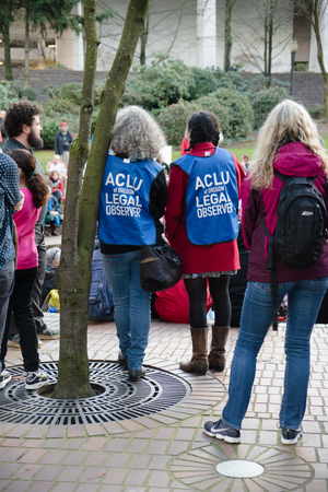 PORTLAND, OREGON MARCH 10 2017, ACLU (American Civil Liberty Union) of Oregon legal observers at a Dakota Access Pipeline (DAPL) protest in the downtown Terry Shrunk Plaza park. Editorial