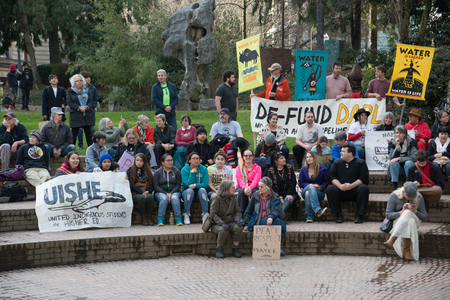PORTLAND, OREGON MARCH 10 2017, Protesters of the Dakota Access Pipeline (DAPL) sitting in the downtown Terry Shrunk Plaza park.