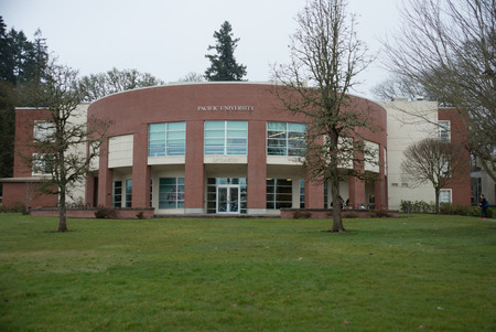 FOREST GROVE, OREGON MARCH 2 2017, The Optometry building at Pacific University on an overcast day.