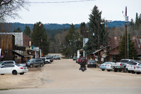 IDAHO CITY, IDAHO APRIL 21 2016, Main street in the rural town of Idaho city, with many old wooden buildings.
