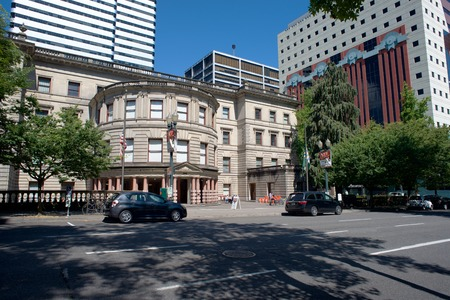 PORTLAND OREGON, JULY 16 2017, The Portland City hall building, The Portland building in the background to the right.