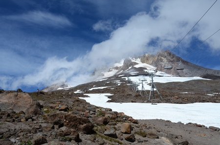 Mt. Hood in Oregon in August, The chairlift on the right closed for the day, taking people in the morning to the snowfield providing the longest ski season in the United States.
