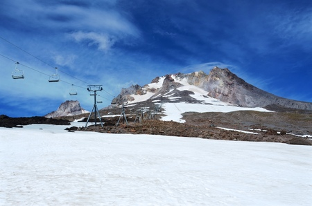 Snow mountain and cable car.