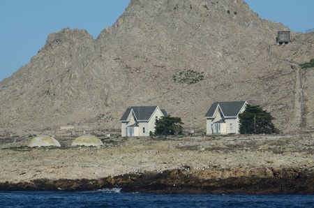 Houses on the Southeast Farallon Island, where scientific researchers live while on the island. Stock Photo