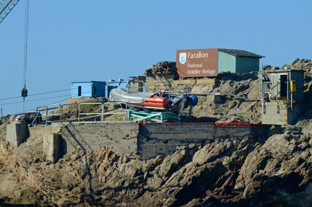 SAN FRANCISCO,  NOVEMBER 24 2013, Boat platform on the Southeast Farallon Island, allowing researchers to get on and off the island, and receive supplies.