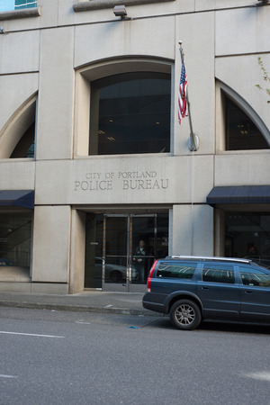PORTLAND, OREGON MAY 05 2017, The entrance to the Portland Police Bureau Headquarters in the Multomah County Justice Center building.