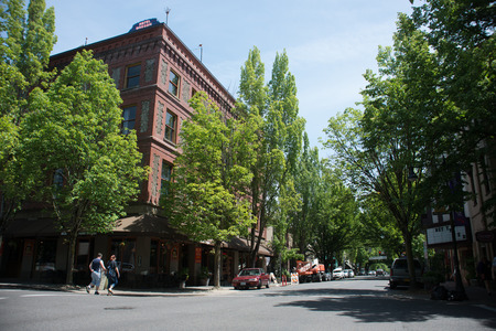 MCMINNVILLE, OREGON JUNE 6TH 2017, the McMenamins Hotel Oregon, and other buildings along downtown 3rd street. Editorial