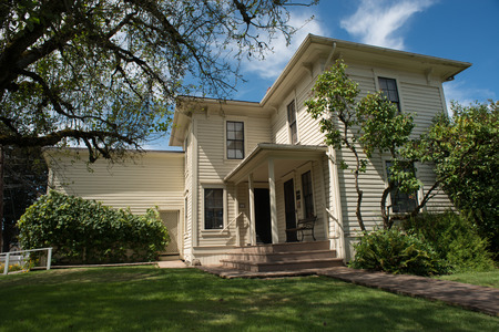 NEWBERG OREGON, AUGUST 15 2017, The  Hoover-Minthorn house, home to 31st President Herbert Hoover as a child. The oldest house in Newberg, it now operates as a museum. Stock Photo - 84695040