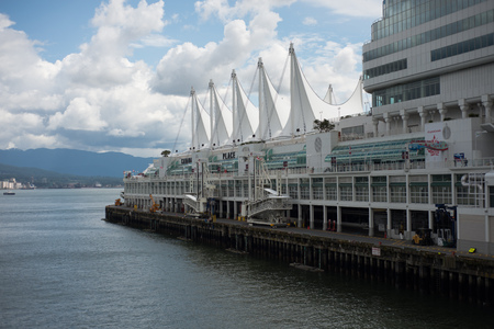 VANCOUVER CANADA JUNE 09 2017, The Canada Place building, containing a convention center, hotel, and Vancouvers Wold Trade Center. Also functions as a cruise ship terminal. Located on the Burrard Inlet waterfront.