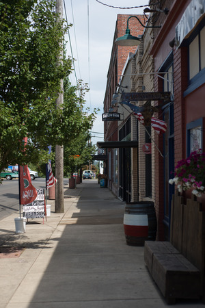 DAYTON, OREGON AUGUST 15 2017, Sidewalk and storefronts in the downtown of the small rural town in the will amette valley.