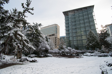 PORTLAND, OREGON, FEBRUARY 21 2018: Terry Schrunk Plaza covered in snow in the morning. Editorial