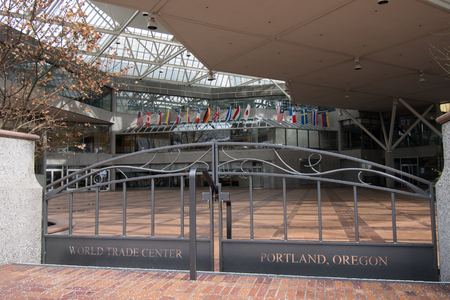 PORTLAND, OREGON, FEBRUARY 21 2018: Entrance to the courtyard for one of the World Trade Center buildings in downtown.