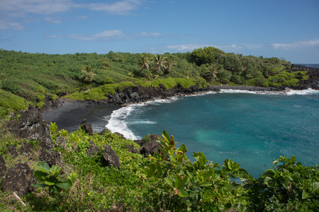 Looking down to the Waianapanapa Black Sand Beach on the island of Maui, Hawaii surrounded by lush foliage.