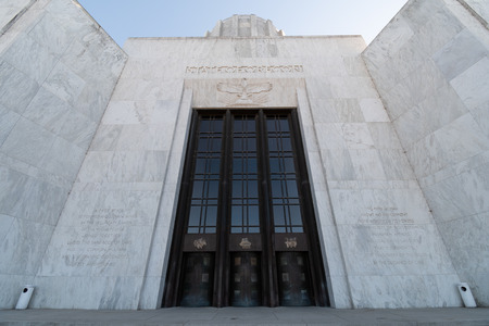 The front entrance and doors to the Oregon State Capitol Building. Part of the rotunda  at the top of the frame Editorial