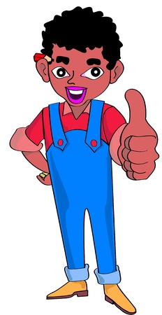 young with thumb up carpenter by trade Ilustração
