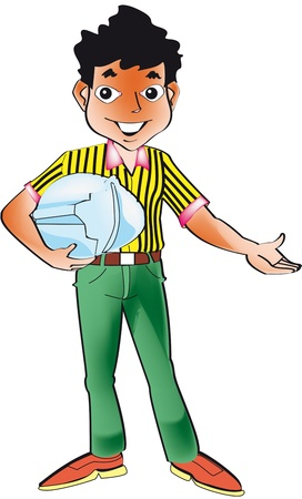 cartoon of an engineer with hands in welcoming town
