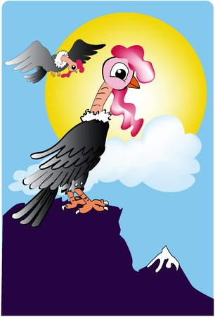 cartoon of a condor perched on the top of the ridge
