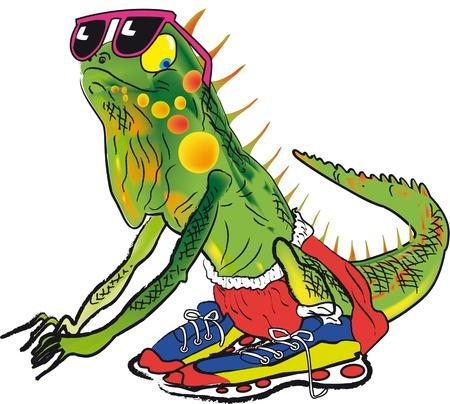 male iguana cartoon ready to take a sprint.