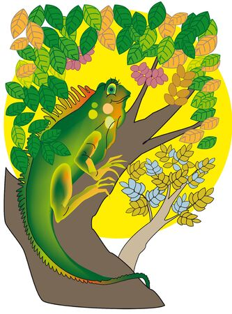 cartoon of a female iguana in a tree Ilustração