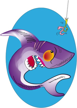 cartoon of a shark very aggressive