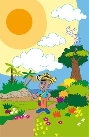 cartoon of peasant boy in the field Ilustração