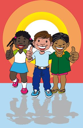 tri-ethnic representations of culture in latin america with a cartoon of three children make of these races.