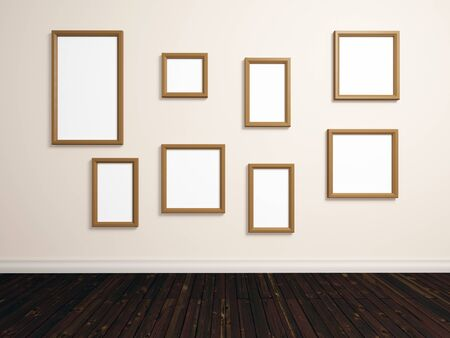 different shapes: realistic 3d render of room with different sized empty photo frames on white wall