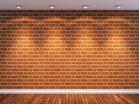 3d render of empty room with brick wall and four spot lights Stock Photo - 8947458