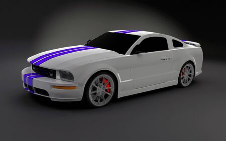 3d render of realistic white sportscat with blue stripes photo