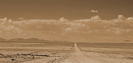 ENDLESS DESERT ROAD, MONOCHROME Stock Photo - 28448403