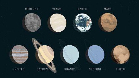 Detailed flat vector illustration of the nine planets in our solar system with realistic colors. The names of the planets are included.