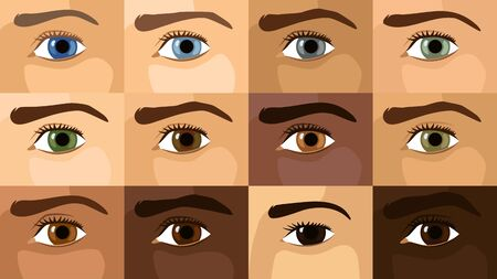 Detailed flat vector illustration of 12 different eye colors. World Sight Day.