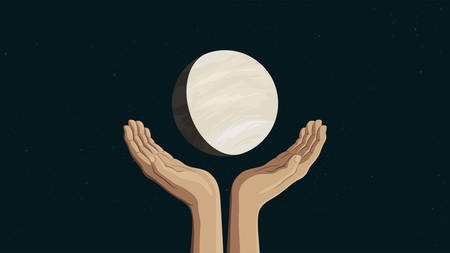 Detailed flat vector illustration of two hands holding Venus.