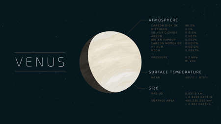 Detailed flat vector illustration of Venus with relevant information next to it.