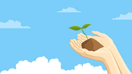Detailed flat vector illustration of two hands holding a sprout representing sustainability. Blue background with clouds. 일러스트