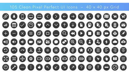 Set of Pixel Perfect User Interface Icons - 40 x 40 Pixels - Vector format