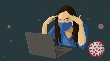 Detailed flat vector illustration of a woman with a face mask working in front of a laptop amidst the COVID-19 outbreak. Ilustração