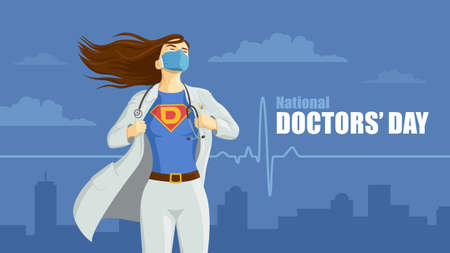 Detailed flat vector illustration of a doctor revealing her superhero emblem underneath her coat. National Doctors' Day.