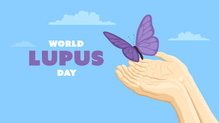 Detailed flat vector illustration of two hands holding a purple butterfly representing the World Lupus Day.